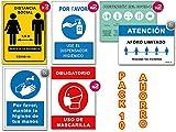 Señales COVID 19 | Pack Ahorro 10 Carteles Coronavirus | 2 Distancia, 2 Mascarilla, 2 Dispensador, 2 Pautas, 1 Higiene Manos, 1 Aforo | Señalización Autoinstalable | 21 x 30 cm | Descuentos Cantidad