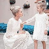Vestido De Madre E Hija - Mamá De Moda Hija Vestido De Noche Novia Mamá Y Mi Vestido De Manga Larga Encaje Hueco Retrato Familiar Madre Niña Princesa Vestir Elegante Madre Blanca Mujer Vestido Ca