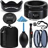 Canon EF 50mm f/1.8 STM Lens + 3 Piece Filter Kit + Lens Dust Blower + Lens Cleaning Pen + Lens Hood + Lens Pouch + Lens Cap Keeper Bundle