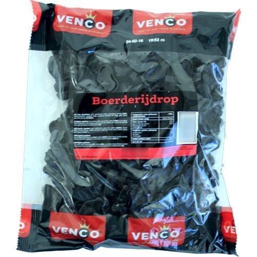 Venco Boerderij Drop Hard Zout / Farm Licorice Hard Salty Candy 1 KiloBag 22lbs