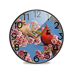 Wamika Cardinal Hummingbird Birds Cherry Blossom Wall Clock Silent Non Ticking Quality Quartz Welcome Spring Floral Round Clock 12 Inch Battery Operated Easy to Read for Home Kitchen Office School