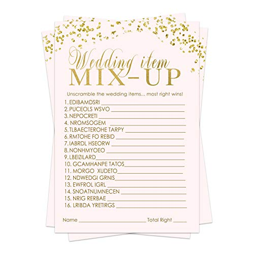 Pink and Gold Bridal Shower Games (25 Pack) Word Scramble Cards – Unscramble The List – Activity for Engagement Party – Wedding – Rehearsal Dinner – Elegant Supplies and Ideas