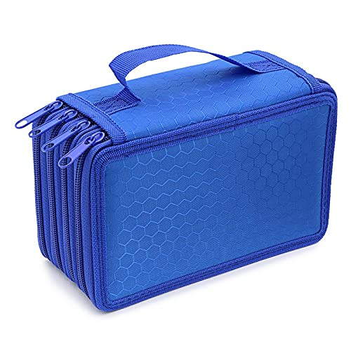 Large Multi Layer School Pencil Case Inseting Portable Teenager Pencils Blue Travel Toiletries Bag