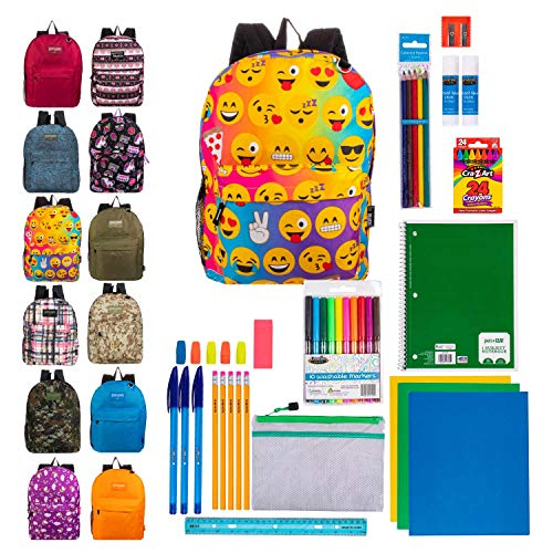 17' Bulk Backpacks with 44 Piece School Supply Kits - Case of 12 Wholesale Backpacks and Kits in 8 to 12 Prints and Colors