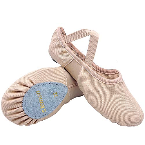 S.lemon Alta Elásticos de Lona Zapatillas de Ballet Zapatos de Baile para Niñas Mujeres Niños