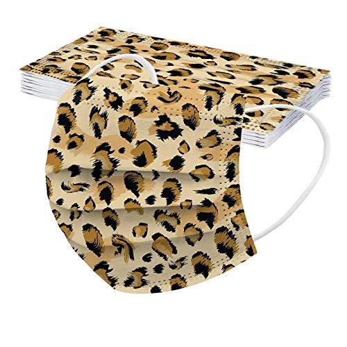 Erwachsene Einweg_Mundschutz mit Motiv Leopard, 10 Stücke Mund und Nasenschutz 3-lagig Einweghülle Staubdicht Atmungsaktive Vlies Bandana Multifunktional Halstuch