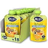 Hero Baby Mi Fruta - Bolsita de Fruta sabor Mediterráneo, Sin Azúcares Añadidos, para Bebés a Partir de los 12 Meses - Pack de 18 x 100 g