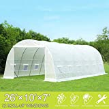 Mellcom 26' x 10' x 7' Greenhouse Large Gardening Plant Hot House Portable Walking in Tunnel Tent, White
