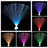 6 Piezas Lámpara de Fibra Óptica LED de Cambio de Color, 7 Colores Luz de Noche Lámpara Calmante para Decoración de Mesa Salones Dormitorios Regalos y Más