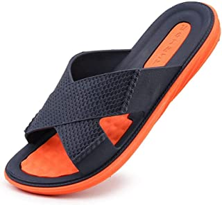 Durable Summer Shoes Mens Beach Slippers Summer Designed To Withstand Whatever The Weather (Color : Orange, Size : 43)