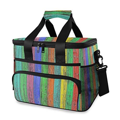Ice Pack schouderriem Painbow kleurrijk houten patroon koelbox lunch tas picknick draagbare school