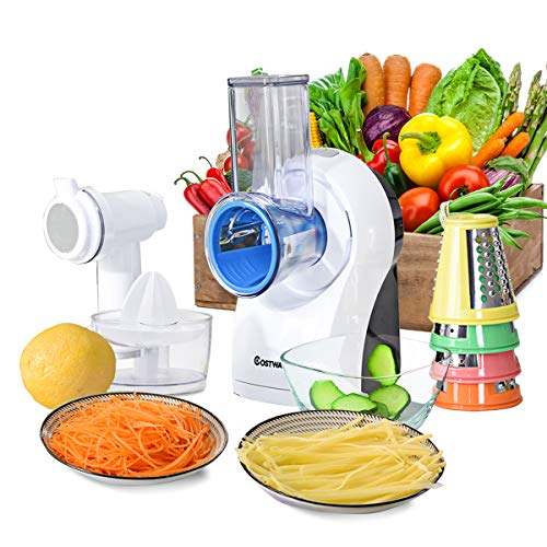 COSTWAY 3-In-1 food Processor, Efficient and Multifunctional Salad Maker Vegetable Slicer Cheese Grater with 5 Stainless Steel Rotary Drum Grater Slicer, Fast Fruit Cutter, Perfect for Kitchen