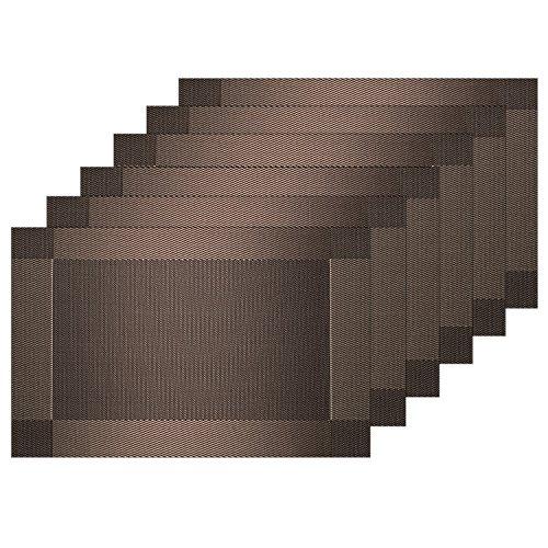 Guwheat Sets de table en vinyle de PVC lavables, durables, résistants à la chaleur et antidérapants, marron, 6