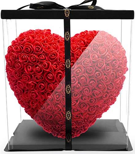 NADIR Rosenherz Rot ROSEBEAR / inklusive vorverpackter Geschenkbox / Rose bear with Giftbox / Valentinstag Muttertag Geburtstag Jahrestag Jubiläen Infinity Rosebear Blumenbär Rosenbären Bär mit Rosen