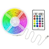 MIAROZ Tiras-LED-USB Música 5M, Luces LED RGB 5050 16 Colores, Strip Led 5v con Control Remoto, Iluminación Decorativa Autoadhesiva para TV Bar Fiestas y Habitación