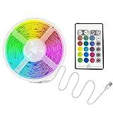 MIAROZ Tiras LED USB Música 5M, Luces LED RGB 5050 16 Colores, Strip Led 5v con Control Remoto, Iluminación Decorativa Autoadhesiva para TV Bar Fiestas y Habitación