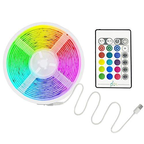 triscia LED, Strisce LED 5M RGB 5050 con 44 Tasti Telecomando IR, 20 Colori 8 Modalità e 6 Opzioni DIY, Luci Led Colorate per Decorazioni, Cucina, Bar, Festa, 12V 1.5A, Facile Installazione