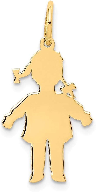 Beautiful Yellow gold 14K Yellowgold 14k Plain Polished Small Girl Charm