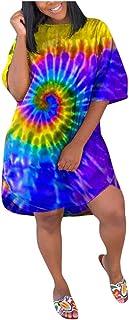 Women Tie-dye Printed Shirt Dress, Ladies O-neck Short Sleeve Loose Dress T-shirt Tops