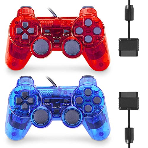 Wired Controller for PS2 Double Shock, 2 Pack Gamepad Remote Compatible with Play station 2 (Clear Red and Clear Blue)