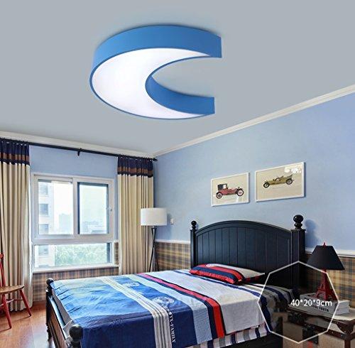 Lily's-uk Love Creative Moon Ladies Lampes de plafond pour enfants Filles Filles Chambre chaude Chambre à coucher Lumière Simple Lumières modernes Kindergarten - Bleu