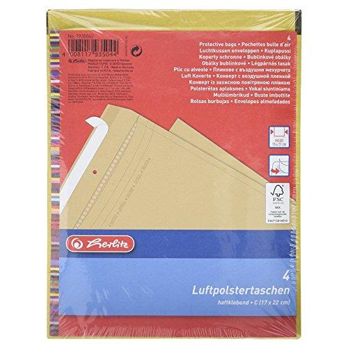 Herlitz Luftpolstertasche C/3, PE-Innenfolie, 4-er Packung, eingeschweißt, 15 x 21 cm, braun