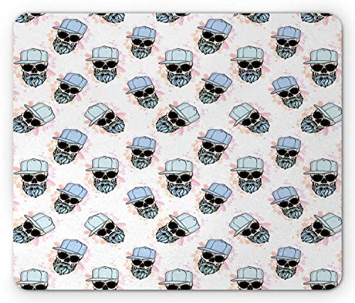 Mausemat Hipster Wiederholung Lustiges Muster Der Schädel Mit Langem Bart Hut Und Sonnenbrille Auf Spritzern Maus Matte Spiel Angepasst Mousepad 25X30Cm Komfortable Rutschfeste Pe