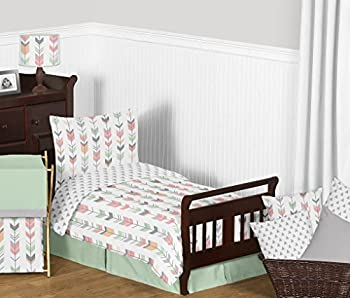 Grey Coral and Mint Woodland Arrow Print Girls 5 Piece Toddler Bedding Comforter Sheet Set
