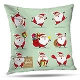shotngwu Christmas Decorative Throw Funda de Almohada Cover, Cute Polar Bear and Penguin Cartoon Christmas New Year Kids Cushion Cover for Bedroom Sofa Living Room 18X18 Inches