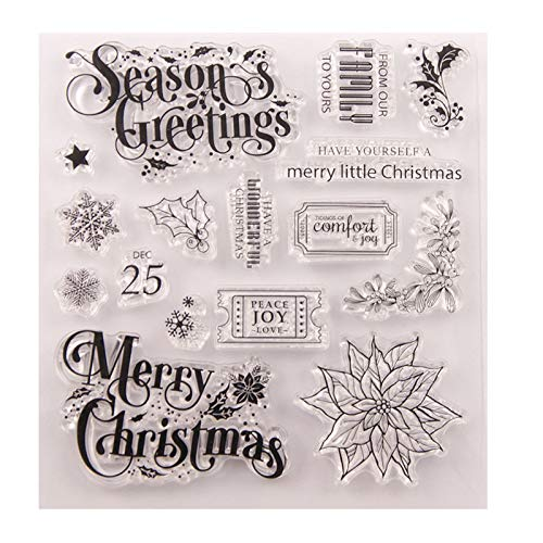Welcome to Joyful Home 1pc Season's Greetings Christmas Clear Stamp for Card Making Decoration and Scrapbooking