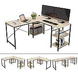 Bestier 95.5'L-shaped Desk with Storage Shelves,Adjustable 2 Person Desk L- shaped Corner Computer desk or Extra Long Desk with Shelves, Multi-Usage LargeTables Desk for Home Office Gaming Study (Oak)