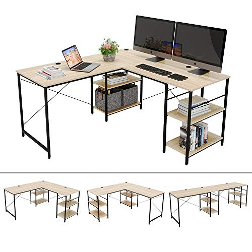 Bestier 95.5'L-shaped Desk with Storage Shelves,Adjustable 2 Person Desk L- shaped Corner Computer desk or Extra Long Desk with Shelves, Multi-Usage LargeTables Desk for Home Office Gaming Study (Oak)