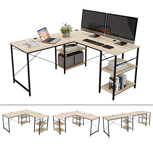 Bestier 95.5'L-shaped Desk with Storage Shelves,Adjustable 2 Person Desk L- shaped Corner Computer...