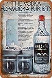 Huzkc Plaque en Aluminium Finlandia The Vodka for Vodka Purists Vintage en métal Peinture en Fer rouillé pour hôtel, café, école, Bureau, Garage