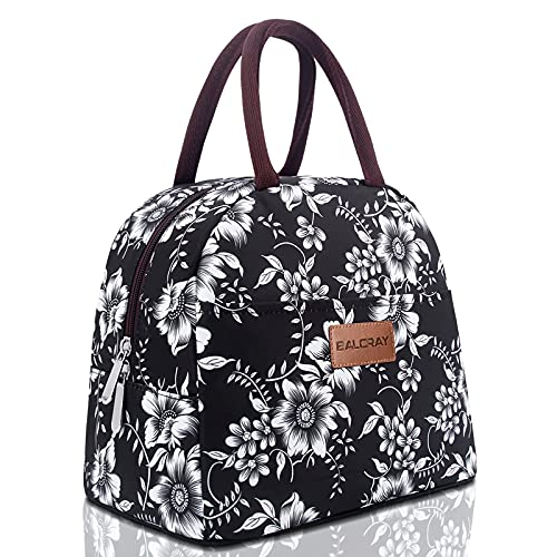 BALORAY Lunch Bag for Women Men Insulated Lunch Box for Adult Reusable Lunch Tote Bag for Work, Picnic, School or Travel (White Flower)