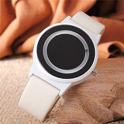 Hanks' Shop 2ST Paare Uhr Harajuku Stil Uhr-Süßigkeit-Farbe PU-Leder-Bügel-Quarz-Armbanduhr for Unisex Frauen Männer (Color : White)