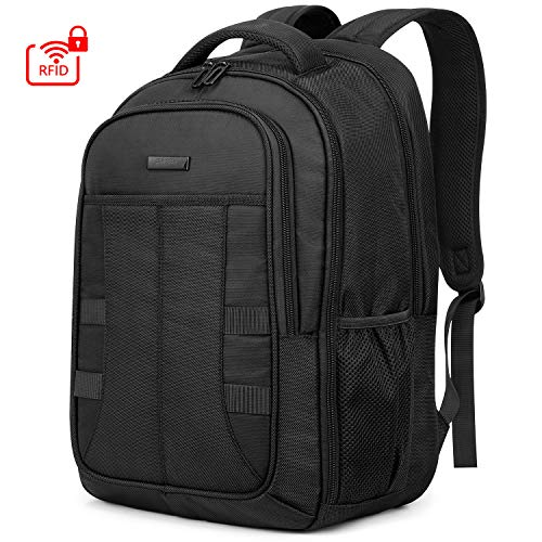 SHIELDON Laptop Rucksack 15,6 Zoll, Reiserucksack Herren, Ultra Groß Daypack für MacBook, RFID Rücksack für Notebook 15-15,6, Wasserdicht Backpack Wärmeableitung für Travel Business, (Männer) Schwarz