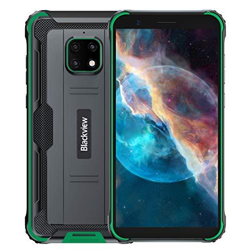 【2021】 Blackview BV4900 Pro Outdoor Smartphone Ohne Vertrag, IP68 Robust Handy Android 10, 4GB RAM 64GB ROM 256GB Erweiterung, 5MP+13MP wasserdichte Kamera, NFC, 5580mAh Akku Reverse Charge Grün