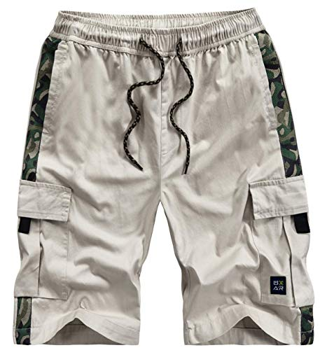 Vcansion Summer Outdoor Casual Cotton Camo Cargo Shorts for Women Beige US 8-10