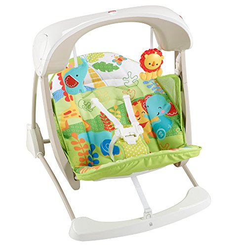 Fisher-Price Rainforest Friends Take-Along Swing and Seat, New-born Baby Swing Chair with Calming Vibrations, Songs and Sounds, Suitable from Birth