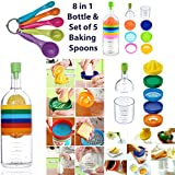 Multi KITCHEN TOOL SET 8 in 1 Bottle -(Funnel, Lemon Squeezer, Spice Grater, Potato Masher, Cheese Grater, Egg Separator, Measuring Cup 420ml, Can Opener) & FREE 5 Baking Spoons