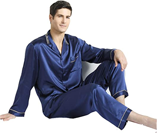 SZTB Pijama Hombre Primavera Verano Otoño Invierno Seda 100 ...