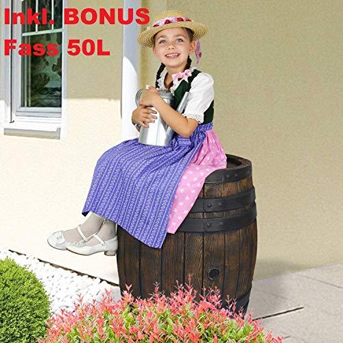 1A Profi Handels GmbH Regentonne Regenfass Wasserfass Regenwasserbehälter Regenwasserfass Gartenfass Eichenfass 240l inkl. Bonus Fass 50l