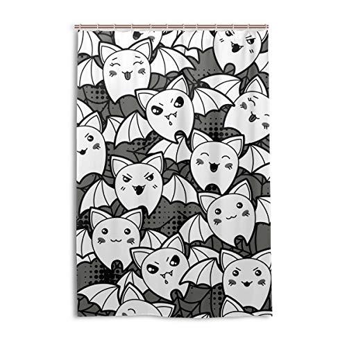 FANTAZIO Duschvorhang mit Cartoon-Fledermaus-Druck, Polyester, mit dicken C-förmigen Haken für Badezimmer, wasserdicht, 1 Stück, 121,9 x 182,9 cm