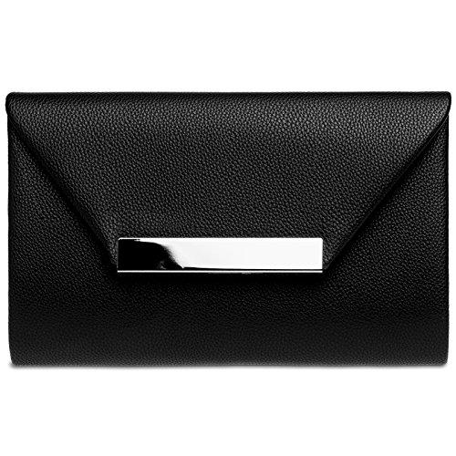 Caspar TA419 Damen XL Clutch Tasche Abendtasche, Farbe:schwarz, Größe:One Size