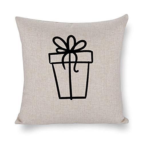 Kissenbezug aus Baumwollleinen, quadratisch, für Sofa, Couch, Bett, Stuhl, Liebe 07