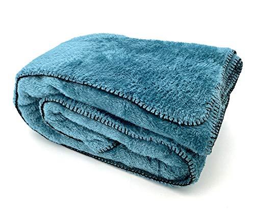 heimtexland ® Kuscheldecke Langfloor Teddy Fleece XL 200x150 Ökotex Plüsch Decke Super Soft Blau Typ716
