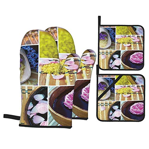F-shop Home Decor SPA Organic Cosmetics Theme Wooden Bowl Petals Lavender Candle Pebbles Therapy Oils Image Purple Brown Oven Gloves and Pot Holders Set Personalized Barbecue Cooking Mitts