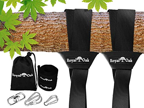 Easy Hang (12FT) Tree Swing Strap X2 - Holds 2200lbs- Heavy Duty Carabiner and Spinner - Perfect for Hammocks and Swings -100% Waterproof-Easy Picture Instructions -Carry Bag Included!