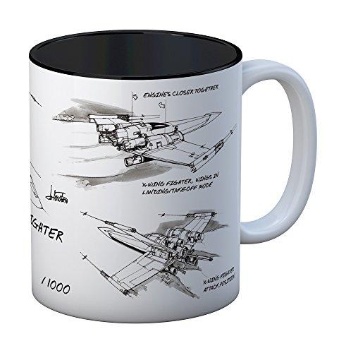 SD toys Star Wars EP.VIII Taza con Diseño X-Wing, Cerámica, Blanco, 9x12x11 cm